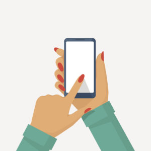 Phone in female hand. Smartphone vector illustration flat style. Isolated on white background. Touching finger blank screen. Template for design. Mobile gadget holding in woman's arm. Mobile friendly concept